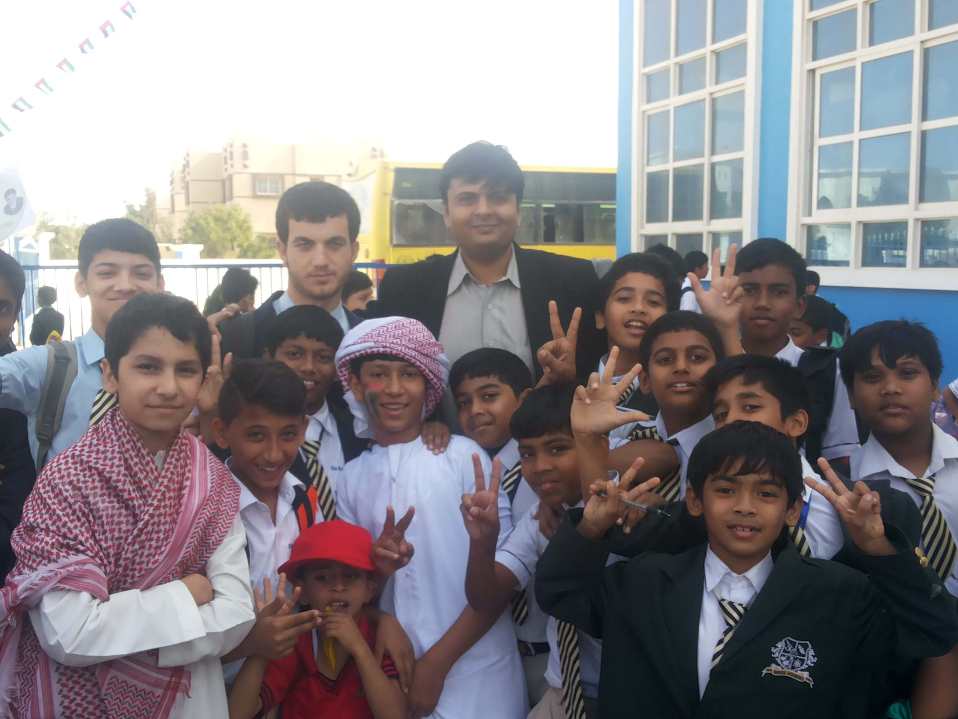 With the students of Afghan origin in a school in UAE
