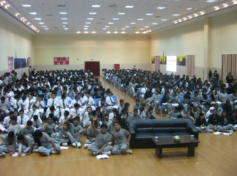 Delhi Public School in Sharjah. Students were running short of chairs, so decided to sit on the floor. Great spirit!