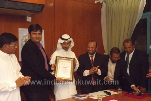 Honoured by Indo Kuwait Friendship Society for Outstanding Contribution to Society