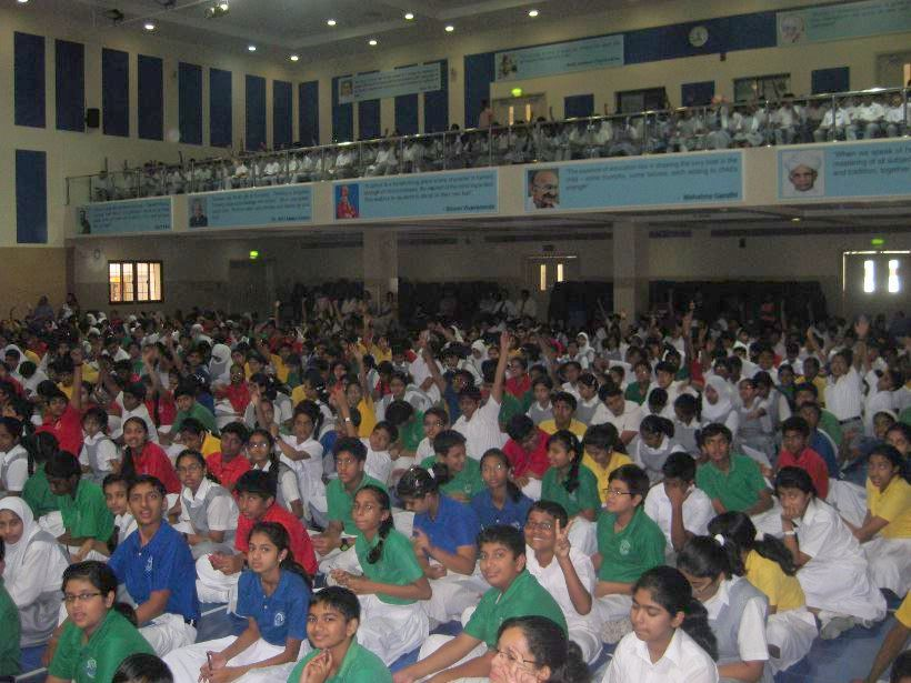 Indian School Muscat. Students sitting in the upper balcony also enjoyed a lot!