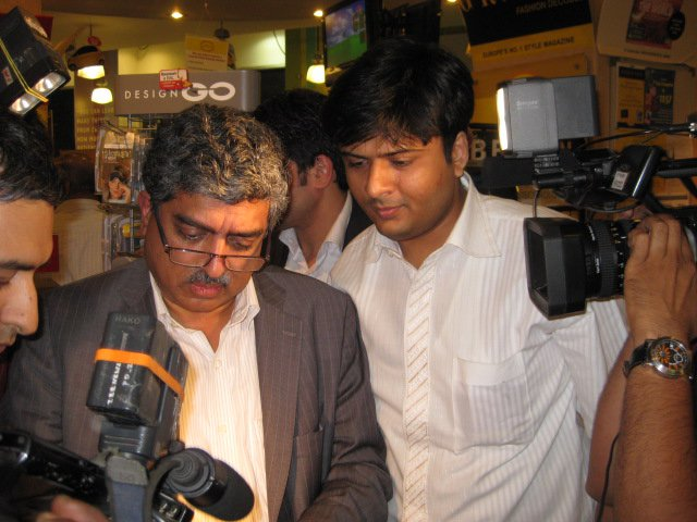 India's Former MP Nandan Nilekani with Dhaval Bathia