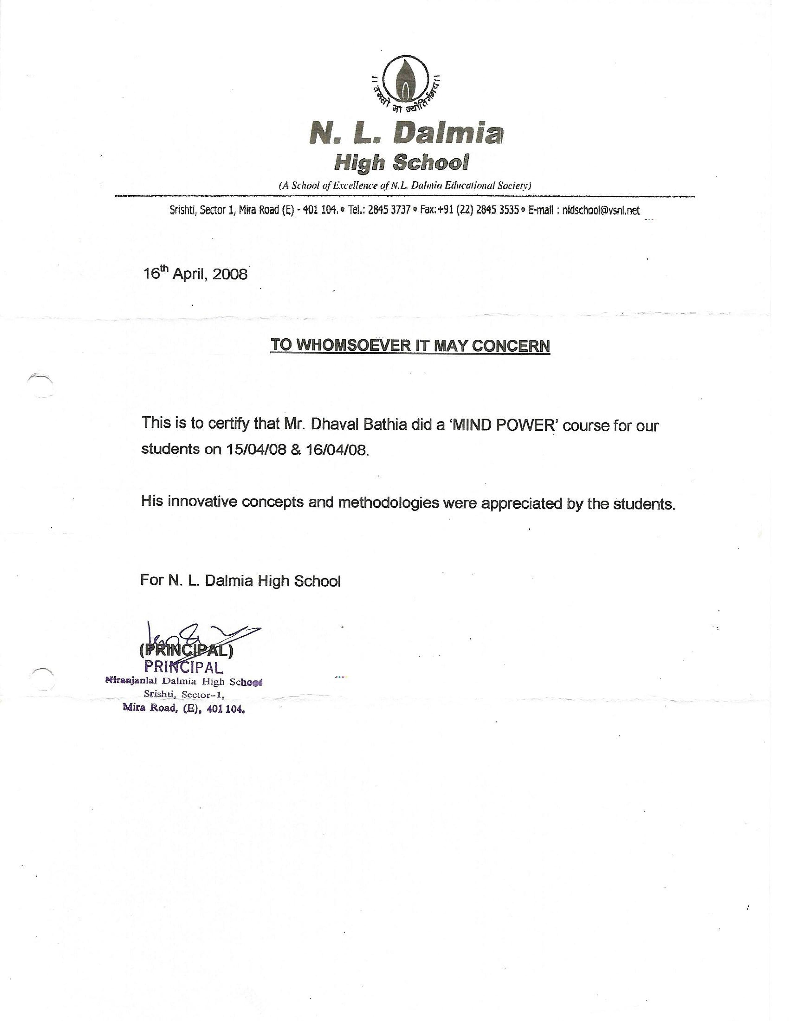 N L Dalmia School Mumbai