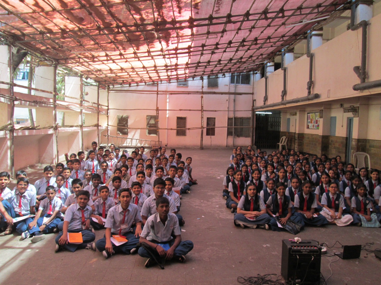 Purushottam School Bandra erected a temporary shed (to avoid sunlight) for the students